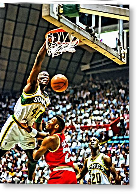 Slamdunk Greeting Cards - Shawn Kemp Painting Greeting Card by Florian Rodarte