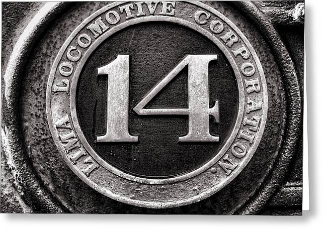 Shay 14 Lima Locomotive Number Plate Greeting Card by Ken Smith