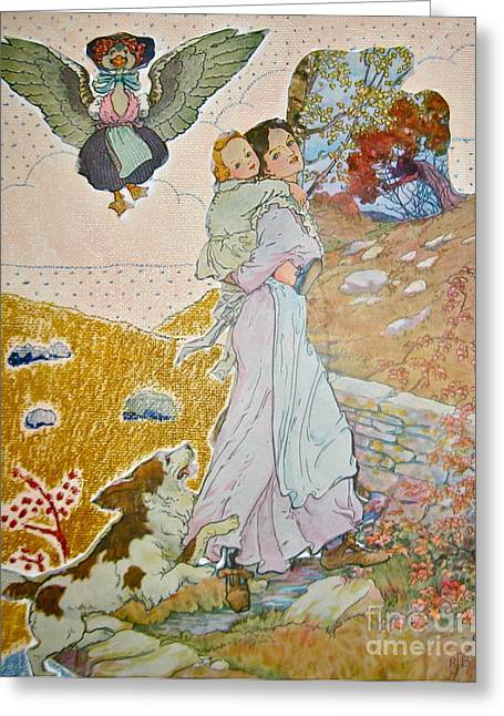 Mother Goose Paintings Greeting Cards - She Carries Him With Her Greeting Card by Brenda Bergen