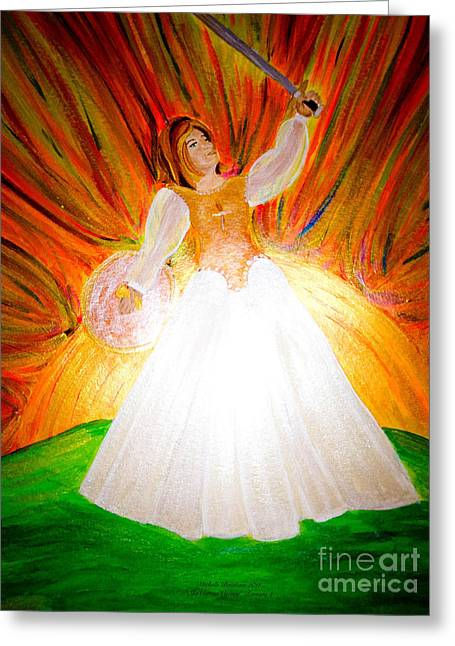 Warrior Bride Greeting Cards - She Carries Victory Greeting Card by Michelle Bentham