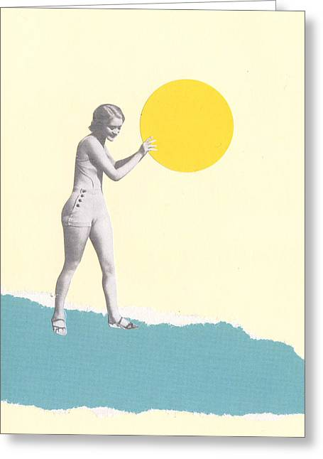 She Caught The Sun Greeting Card by Cassia Beck