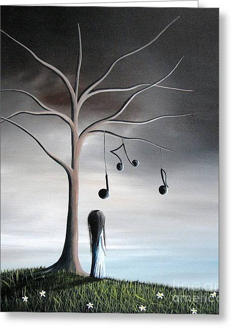 Mystical Landscape Greeting Cards - She Cried A Song For You Today by Shawna Erback Greeting Card by Shawna Erback
