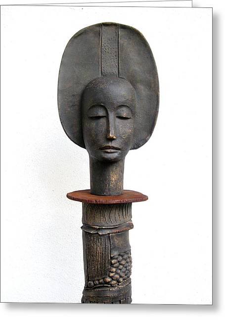 Metal Sculpture Ceramics Greeting Cards - She Greeting Card by Danielle Fafchamps
