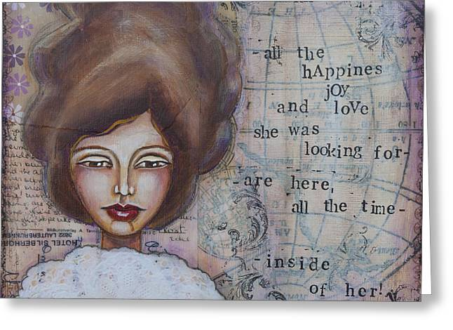 Violate Greeting Cards - She Didnt Know - Inspirational Spiritual Mixed Media Art Greeting Card by Stanka Vukelic