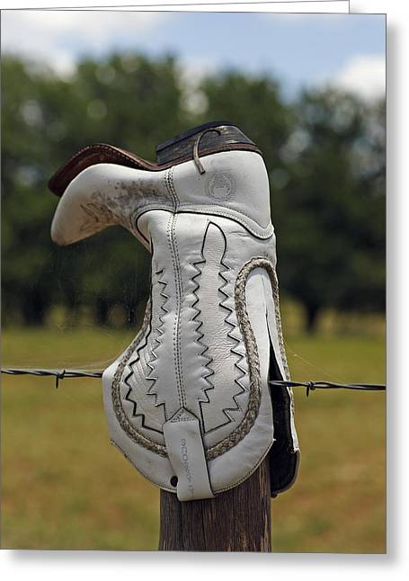 Texas Boots Greeting Cards - She Gave Up Her Sole For The Ranch Greeting Card by Bill Morgenstern