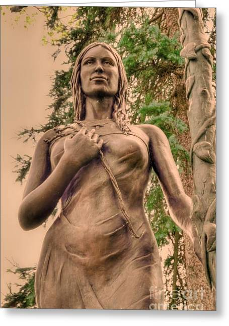 She Holds Her Cross Greeting Card by Kathleen Struckle