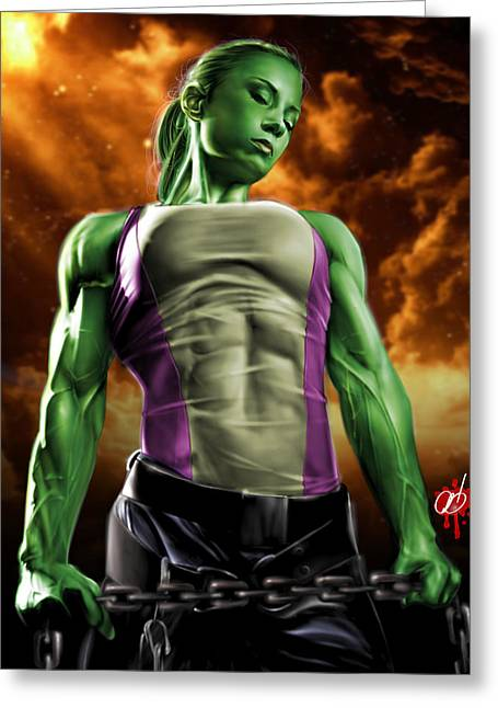 Leather Drawings Greeting Cards - She-Hulk 2 Greeting Card by Pete Tapang