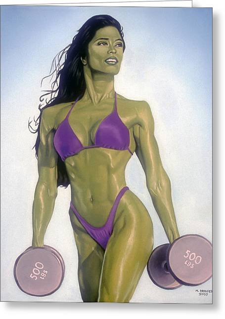 Comic Book Character Paintings Greeting Cards - She Hulk Greeting Card by Michael Bridges