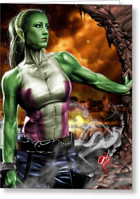 She Greeting Cards - She-Hulk Greeting Card by Pete Tapang