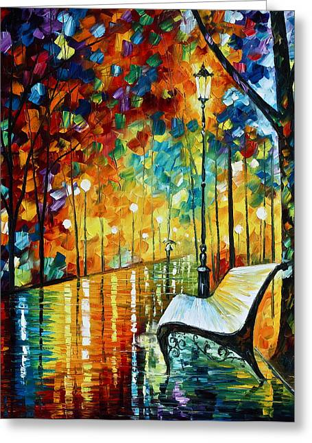 Park Benches Paintings Greeting Cards - She Left.... new version Greeting Card by Leonid Afremov