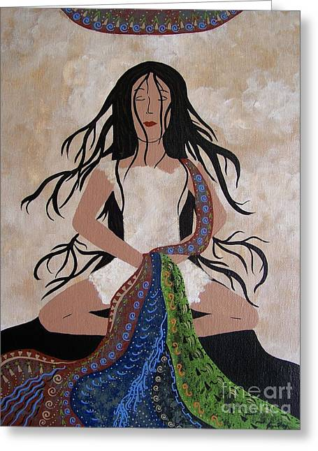 Empowerment Greeting Cards - She Lets Go of the Weight of the World Greeting Card by Jean Fry