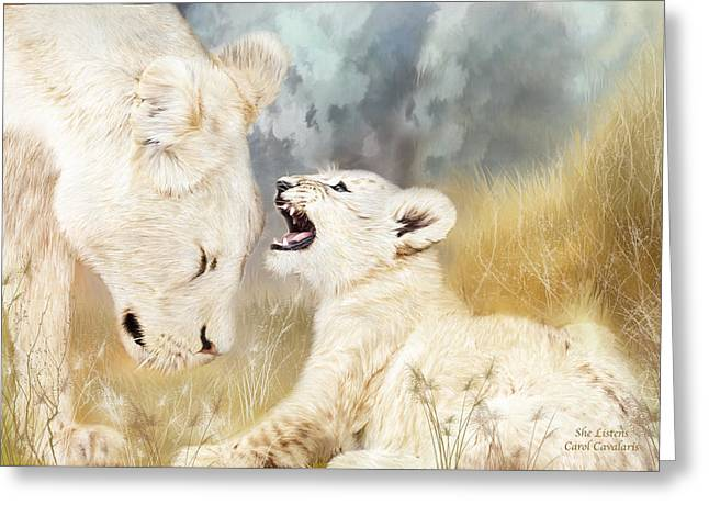 African Lion Art Greeting Cards - She Listens Greeting Card by Carol Cavalaris