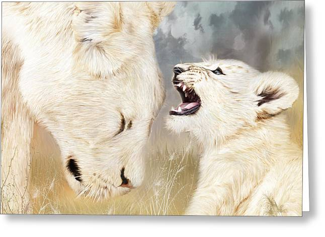 African Lion Art Greeting Cards - She Listens - Square Format Greeting Card by Carol Cavalaris