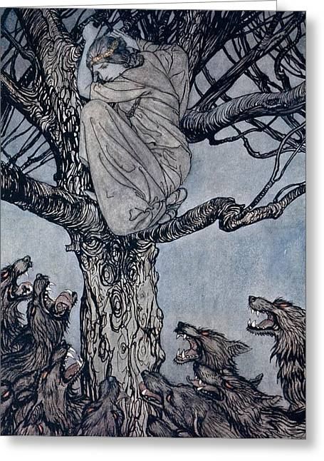 Fangs Greeting Cards - She looked with angry woe at the straining and snarling horde below illustration from Irish Fairy  Greeting Card by Arthur Rackham