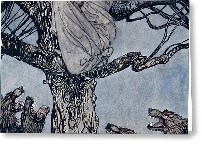 She looked with angry woe at the straining and snarling horde below illustration from Irish Fairy  Greeting Card by Arthur Rackham