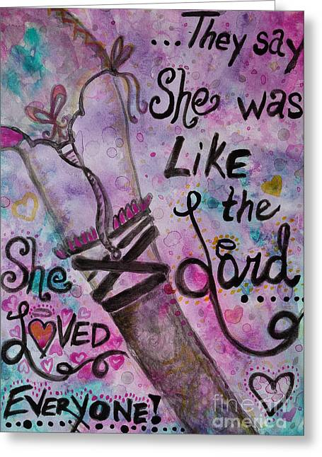 Straps Greeting Cards - She Loved Everyone Greeting Card by Jacqueline Athmann