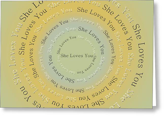 Ringo Starr Greeting Cards - She Loves You 4 Greeting Card by Andee Design
