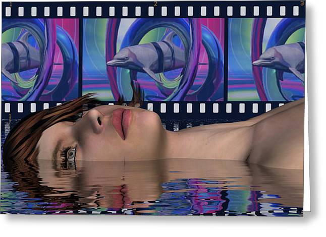 Inner Reality Greeting Cards - She Only Happens In Movies Of Space-Time Tapestry - She Is Conscious Of All Creation Greeting Card by Jon Became the Anti-Christ