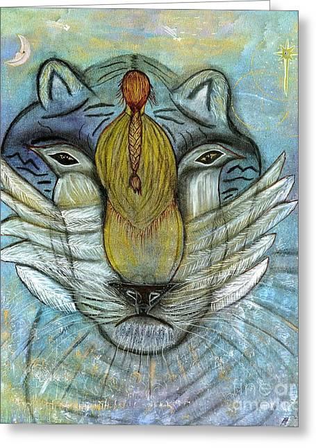 Spiritual Being Greeting Cards - She Prays Greeting Card by Nancy TeWinkel Lauren