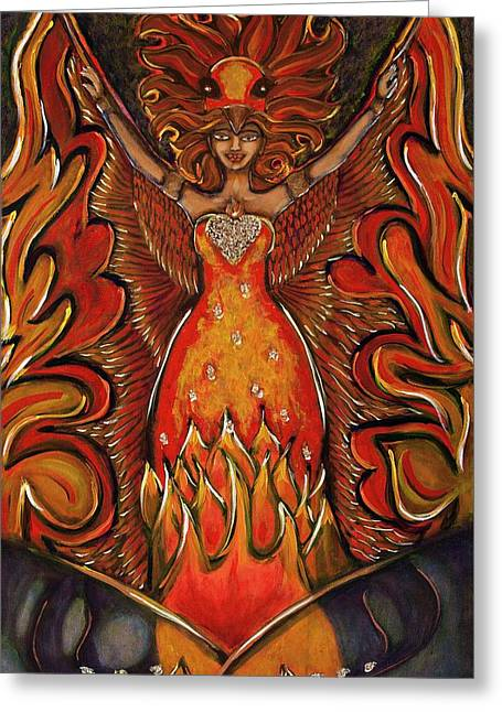 Courage Paintings Greeting Cards - She Rises Greeting Card by Amber Bonnici