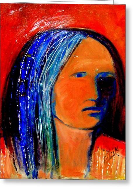 Native American Theme Greeting Cards - She Rode Long Time No More Greeting Card by Johanna Elik