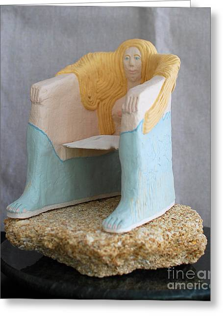 Beaches Ceramics Greeting Cards - She-Sand-And Sea Chair Greeting Card by Art Mantia