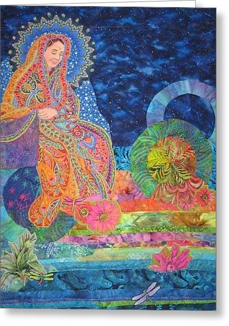 Earth Tapestries - Textiles Greeting Cards - She Seeds the Earth Greeting Card by Carol Bridges
