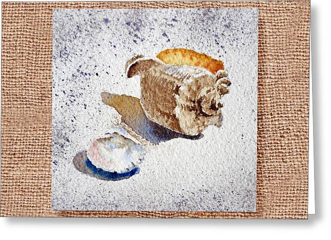 Sea Shell Art Paintings Greeting Cards - She Sells Sea Shells Decorative Collage Greeting Card by Irina Sztukowski