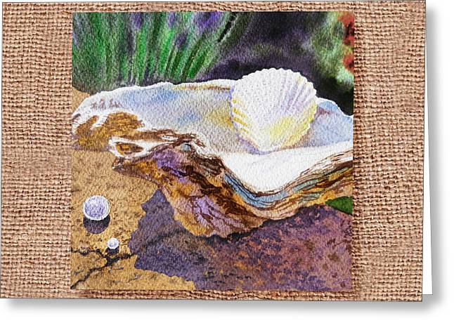 On The Beach Greeting Cards - She Sells Sea Shells Decorative Design Greeting Card by Irina Sztukowski