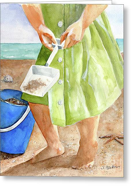 Sundress Greeting Cards - She Sells Sea Shells Greeting Card by Sheryl Heatherly Hawkins