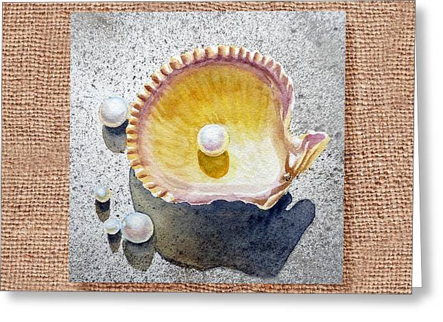 Realistic Watercolor Greeting Cards - She Sells Seashells Decorative Collage Greeting Card by Irina Sztukowski