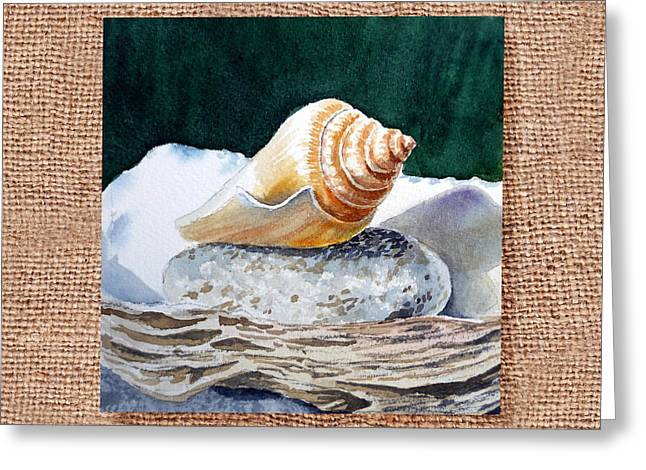 Interior Still Life Paintings Greeting Cards - She Sells Seashells Decorative Design Greeting Card by Irina Sztukowski