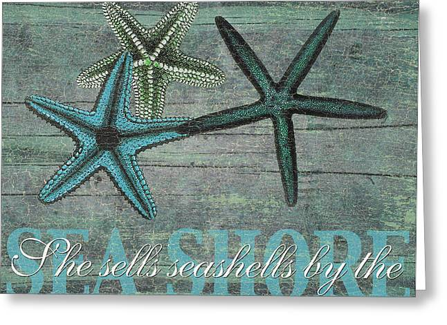 Ocean Shore Mixed Media Greeting Cards - She sells seashells Greeting Card by Marilu Windvand