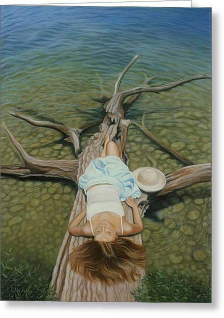 Sunbathing Greeting Cards - She Slept Like a Log Greeting Card by Holly Kallie