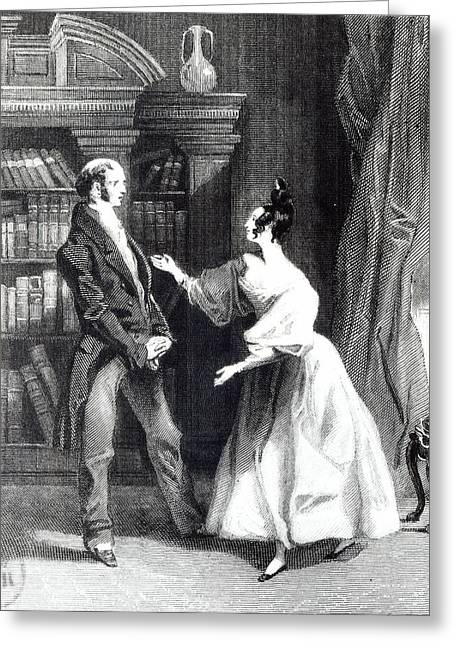 Literary Drawings Greeting Cards - She then told him what Mr Darcy had voluntarily done for Lydia Greeting Card by William Greatbach