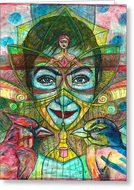 Self-portrait Greeting Cards - She Thought She Was Small and Trapped but She Was Not Greeting Card by Elizabeth D