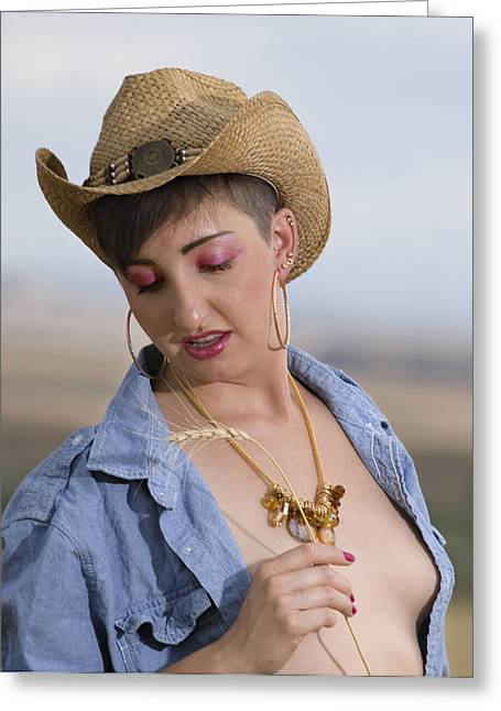 Gold Necklace Greeting Cards - She Took My Shirt Greeting Card by DJ Haimerl