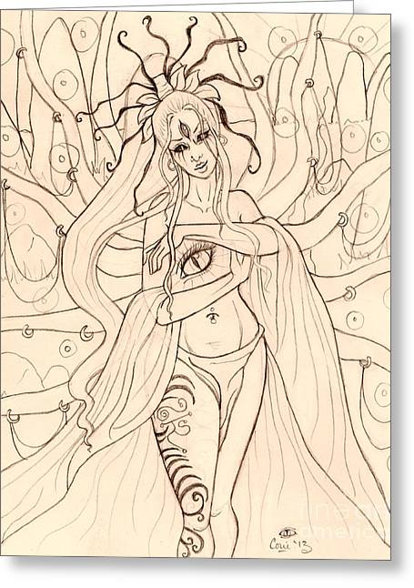 Gaia Drawings Greeting Cards - She Walked through the Ruins Sketch Greeting Card by Coriander  Shea