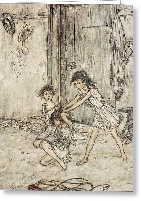 Shakespearean Greeting Cards - She Was A Vixen When She Went Greeting Card by Arthur Rackham