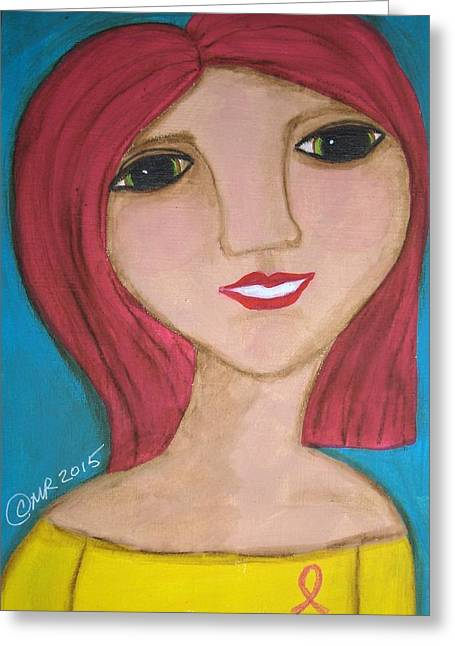 Outsider Art Greeting Cards - She Wears a Pink Ribbon  Greeting Card by Micki Rongve