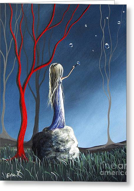 Utherworlds Paintings Greeting Cards - She Whispers Her Dreams by Shawna Erback Greeting Card by Shawna Erback