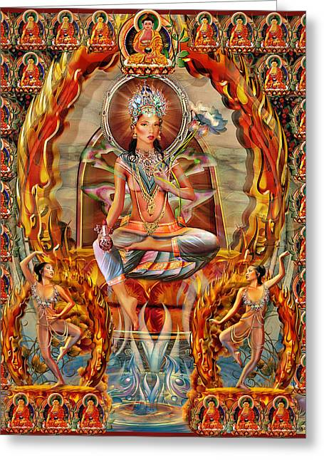 Hindu Goddess Greeting Cards - She Who Blazes Like Fire Greeting Card by Wordmarque Design and Photography