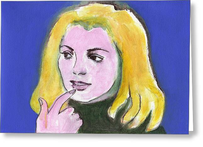 Doubting Paintings Greeting Cards - She Wonders Greeting Card by Kazumi Whitemoon