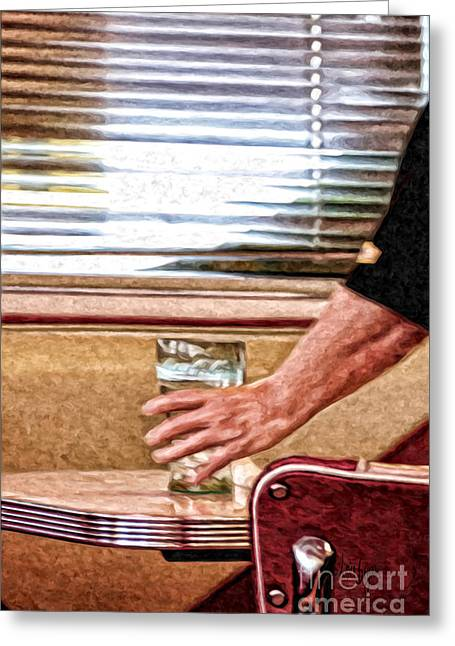 Venetian Blinds Greeting Cards - She Works Hard For The Money Greeting Card by Lois Bryan