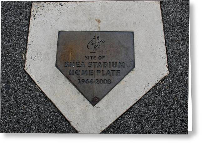 Shea Stadium Home Plate Greeting Card by Rob Hans