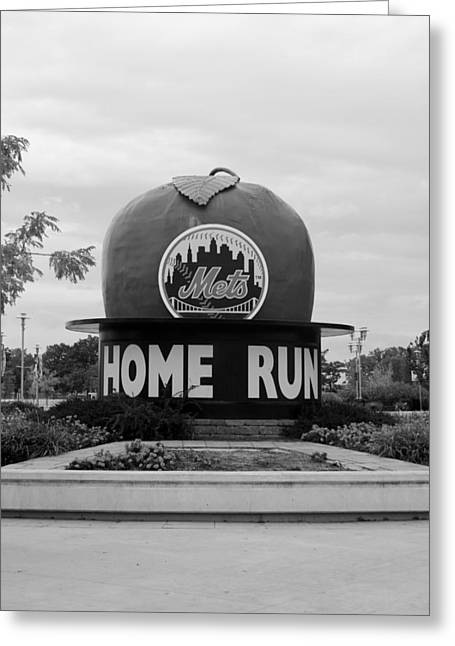 Shea Stadium Home Run Apple In Black And White Greeting Card by Rob Hans