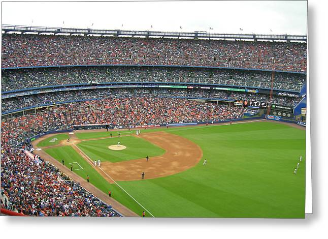 Shea Stadium Greeting Card by Georgia Fowler