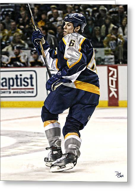 Reebok Greeting Cards - Shea Weber Greeting Card by Don Olea