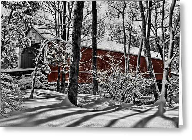 Covered Bridge Greeting Cards - Sheards Mill Covered Bridge 1873 Greeting Card by DJ Florek