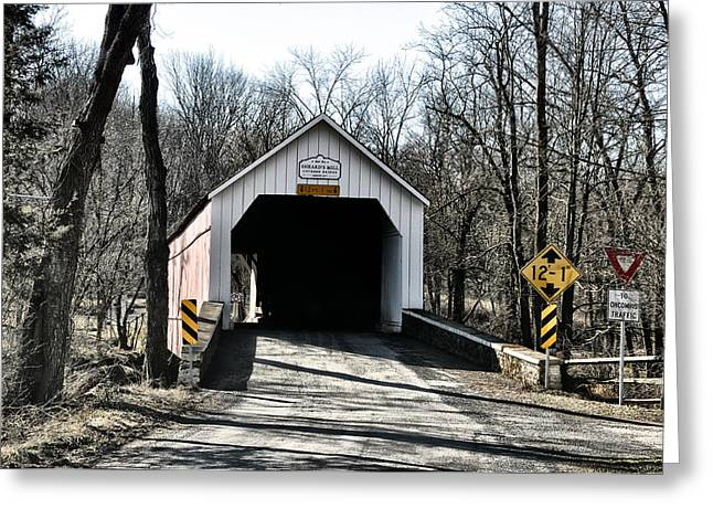 Covered Bridge Greeting Cards - Sheards Mill Covered Bridge Bucks County Pa Greeting Card by Bill Cannon